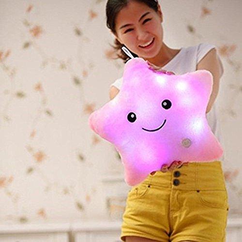 Crazy Lin Dream Leuchtendes Kissen, bunt, mit LED, kuschelig, weich, zur Entspannung, Geschenkidee rose