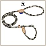 PROFTI Retrieverleine aus Nylon, Lederelemente, Zugstopp, große/kleine Hunde, 150cm lang, Schwarz/Beige