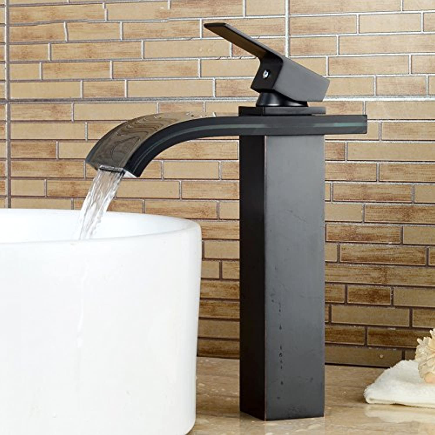 Contemporary Oil-rubbed Bronze Glass Vessel Waterfall Bathroom Sink Faucet - Black
