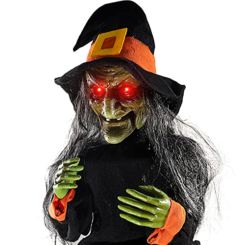 Hipykat Scary Witch Motion Activated Animatronic Light Up Eyes, Moving Arms & Head, Scary Halloween Decor Prop Indoor…