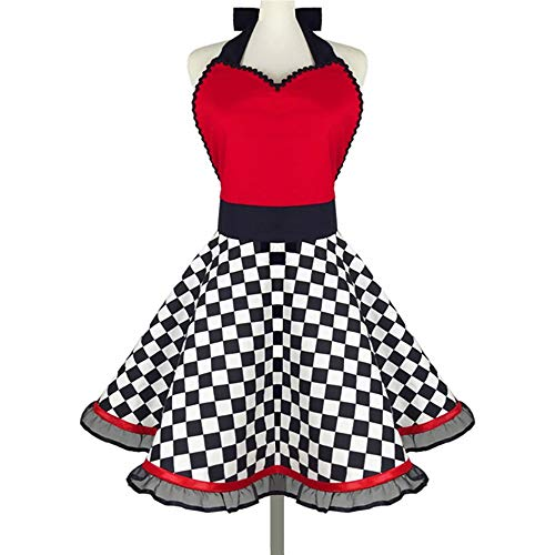 Aprons for Women Girls Plus Size Retro Vintage Cooking Aprons with Extra Ties & Pockets (Red)