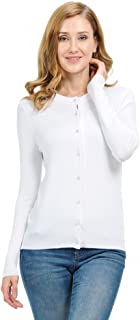 Made by T Button Up Knit Cardigan Sweaters for Women - Crewneck with Pearl Button