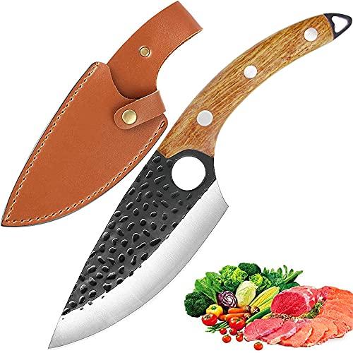 Kochmesser Küchenmesser mit lederscheide,Kochmesser Profi Messer Hackmesser Ausbeinmesser Handgeschmiedetes Küchenmesser zum Fleischschneiden Metzger Kochmesser Outdoor-Messer für Küche Grill Ausflug