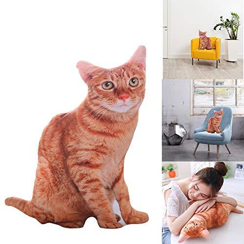 junjunli Analog 3D Plüsch Spielzeug Cartoon Niedlich Katze Muster Katze Puppe Kissen Büro Kissen Puppe Rückenkissen Bürokissen