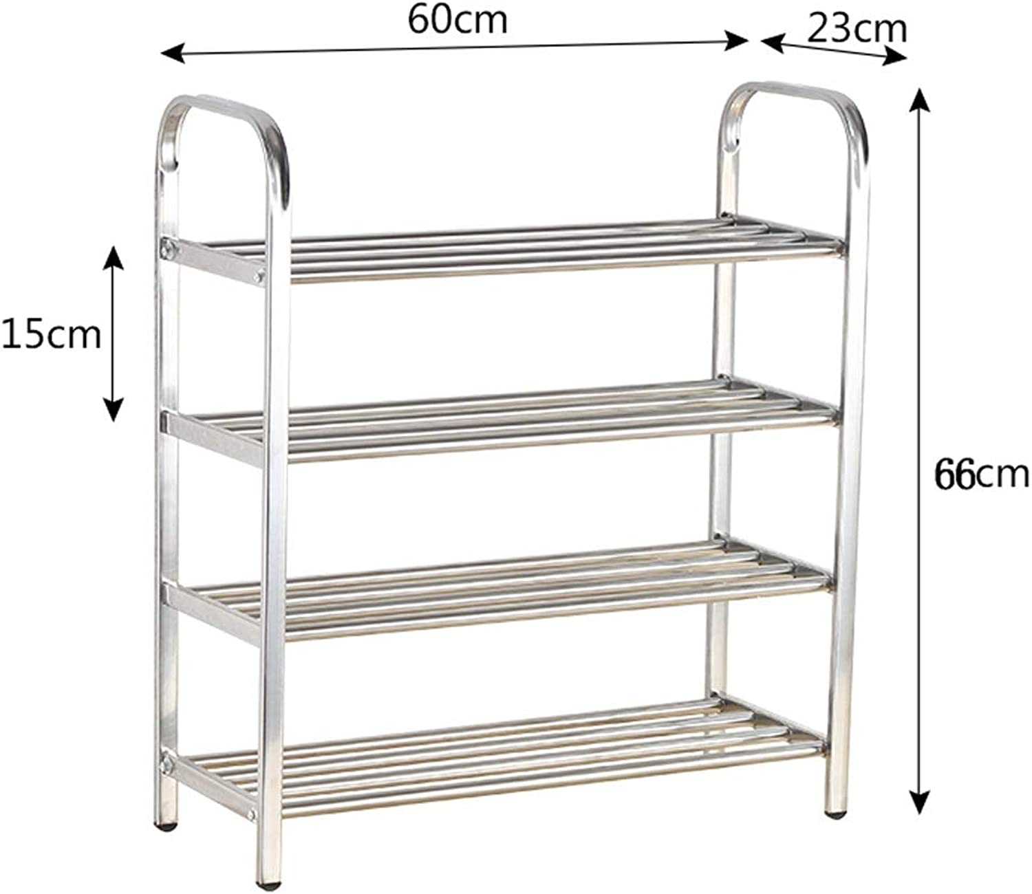 Metal shoes Tower shoes Rack for Mudroom, Storage shoes Organizer Unit Hallway Shelf for Garage Kitchen Entryway, Free Standing shoes Racks, Easy to Put Together (Size   4 Tier 60cm)