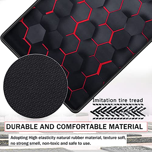 RiaTech Extra Large Size (900mm x 400mm x 2mm) Hexagonal Print Speed Type Extended Gaming Mouse Pad with Stitched Embroidery Edge, Premium-Textured Mouse Mat, Non-Slip Rubber Base Mousepad for Laptop/Computer- Black