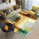 Alfombra Juvenil Dormitorio Alfombras de salón marrón y Verde Área de Pila Corta y sin Pelo y fácil de cuidar Habitaciones alfombras de Exterior 80X160CM 2ft 7.5