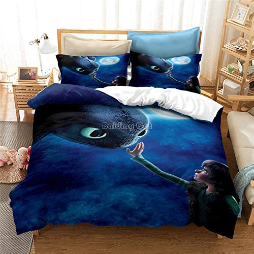 Bcooseso Bedding Set with Duvet Cover Brushed Microfiber 3D Cartoon anime character - European Kids Young Boy and Girl 1 Duvet Cover + 2 Pillowcases 50x75cm (King size 220 x 230 cm )