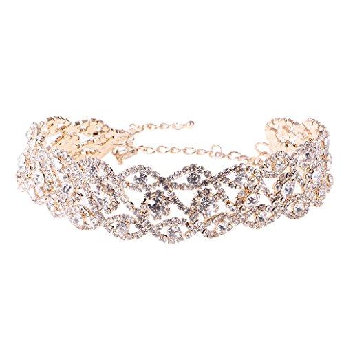 MagiDeal Damen Choker Halskette mit Kristall Straß Collier Kette Halsband - Mode Schmuck - Gold