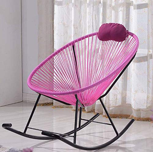 FENG Stuhl Balkon-Liegestuhl/Schaukelstuhl/eiförmiger Korbsessel/personalisierte Möbel-Rattanstuhl (Farbe : Pink)