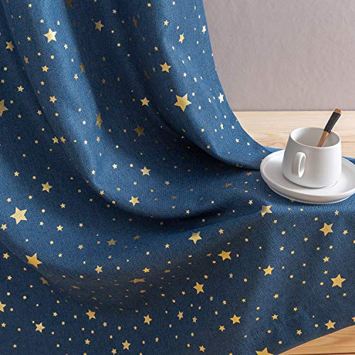 jinchan Girls Blackout Window Curtains for Bedroom Starry Night Cute Twinkle Star Curtains Faux Linen Textured Curtains Grommets for Living Room 1 Panel 84