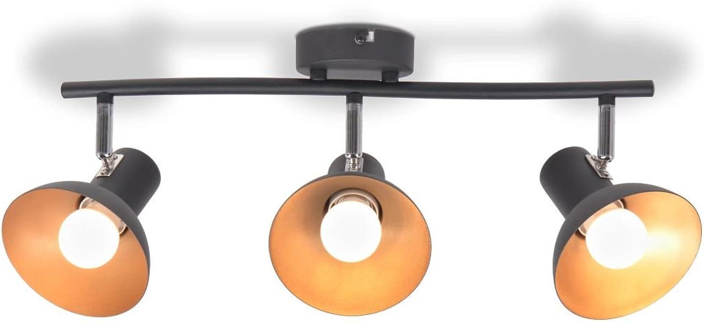 ROMELAREU Deckenlampe für 3 Glühbirnen E27 Schwarz und Gold Heim & Garten Beleuchtung KronleuchterWand- & Deckenbeleuchtung Deckenleuchten