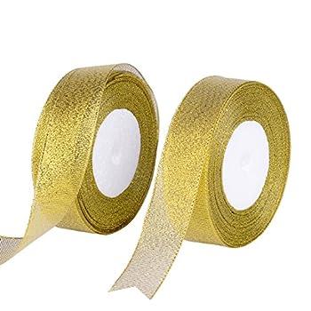 Feyarl 1-inch Glitter Metallic Gold Ribbon Sparkle Ribbon Crafts Wedding Holiday Ribbon Home Decoration Ribbon Gift Wrap Card Making Hair Bows Ribbon Floral Projects  2 Rolls X 25yd  Gold