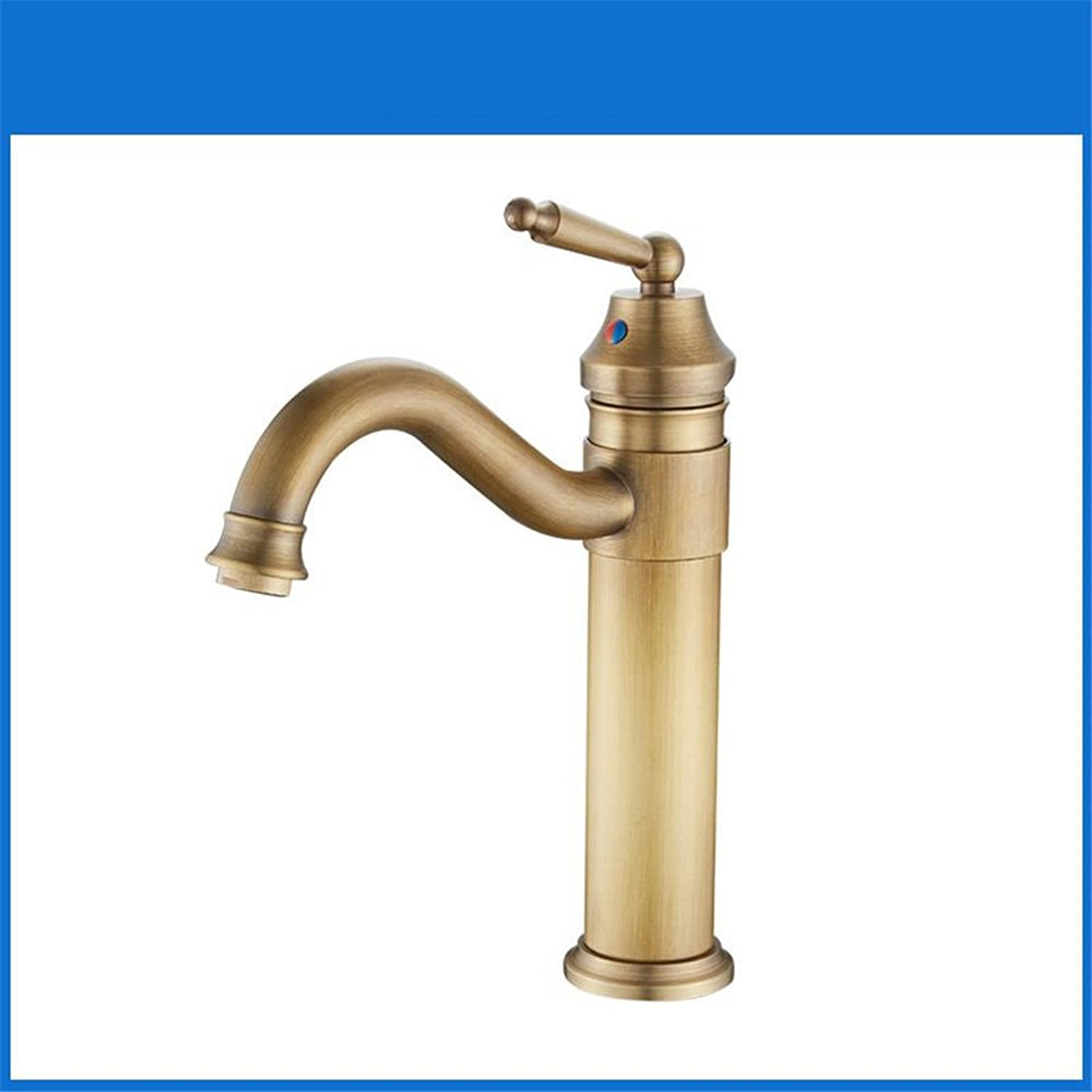 Hlluya Professional Sink Mixer Tap Kitchen Faucet Antique Bathroom Faucets full brass swivel basin mixer mixing of hot and cold water antique sink faucet high B