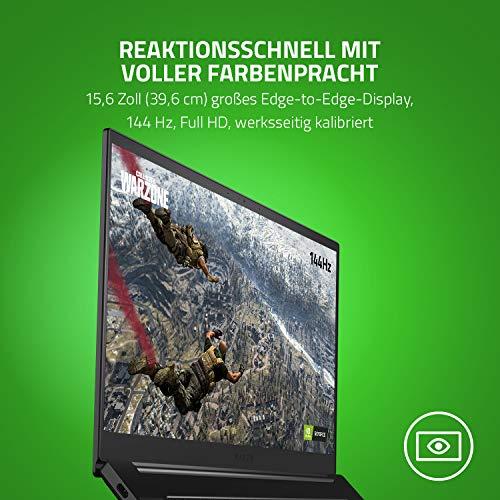 Razer Blade 15 Gaming Laptop 2020: 15,6 Zoll Full HD 144Hz Basis Modell, Intel Core i7 10th Gen, NVIDIA GeForce GTX 1660 Ti, 16GB RAM, 256GB SSD, Chroma RGB Beleuchtung | Qwertz DE-Layout