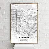 DAQIANSHIJIE Moderne Wohnkultur Kanada Stadtplan Halifax Stadtplan Weiße Karte Leinwand Kunstdruck Wandbilder für Wohnzimmer 42X60Cm ohne Rahmen