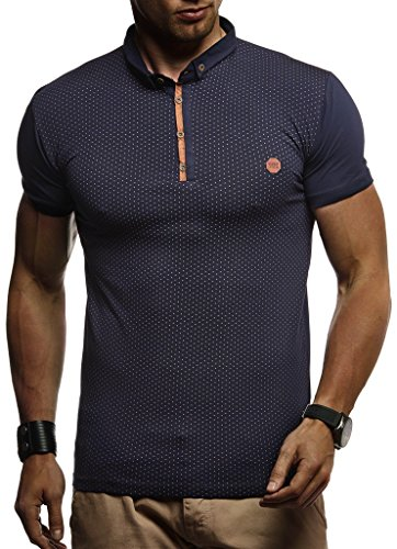 Leif Nelson Herren Sommer T-Shirt Polo Kragen Slim Fit Baumwolle-Anteil Basic schwarzes Männer Poloshirts Longsleeve-Sweatshirt Kurzarm Weißes Kurzarmshirts lang LN1295 Dunkel Blau XX-Large