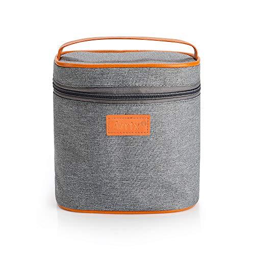 Arrtx Aufbewahrungstasche, grau, Leinen, mit Reißverschluss, für Stifte, Schulbedarf, Make-up-Pinsel, als Handtasche, hohes Fassungsvermögen