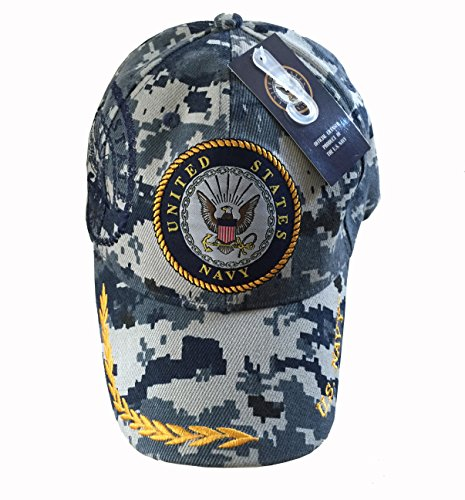 US Navy Digital Blue Camo NPC Logo w/ Shadow Military Baseball Style Hat Cap (Camouflage)