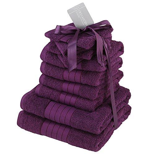 Closet 10 Stück Handtuch Bale Geschenk Set- 100{af8e24f22e0011d1943831424c05cfedb4d1b2a8e54b8cf16589648193157d88} ägyptischer Baumwolle - Purple