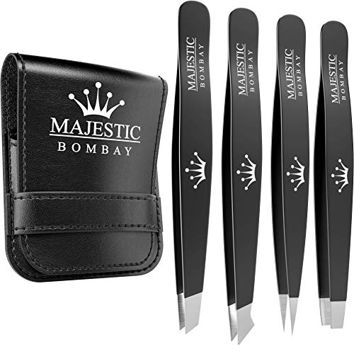 Tweezers Set 4-piece-Stainless Steel Slant Tip & Sharp Pointed Eyebrow Tweezer Set-Precision Facial Hair Removal Tweeezers,Eyebrow Hair,Splinter,Blackhead,Ingrown Hair/Tick Remover-Ends Meet Perfect