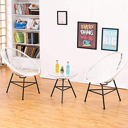 Trois pièces Balcon Chaise en Osier, Table d'extérieur Loisirs Patio et chaises, w/Corde, Verre Haut de Table, à la Main, for Le Jardin, véranda, Jardin, arrière-Cour WKY (Color : C)