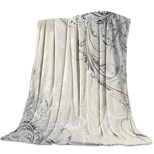 Sweet Comfort Dream Floral Art Pattern Flannel Fleece Blankets Luxury Couch Cover Blanket Grey Soft Lightweight Plush Throw Blankets for Couch/Chair/Bedroom All Season, 50x80 inches