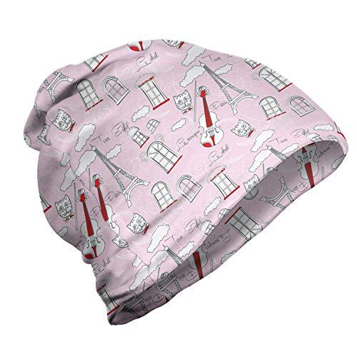 ABAKUHAUS Parijs Unisex Muts, Viool Eiffel Cat Bow Tie, voor Buiten Wandelen, Pale Pink Scarlet White