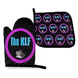 Lsjuee Los guantes y cubiertas de ollas para horno KLF The White Room, guantes para horno resistentes al calor, guantes para horno microondas, barbacoa segura para cocinar, hornear, asar a la parrilla