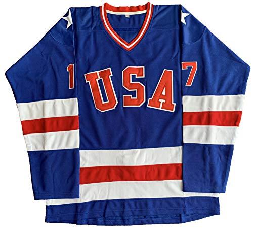 1980 USA Olympic Hockey #21 Mike Eruzione #17 O'Callahan #30 Jim Craig Miracle On Ice USA Jersey White Blue (17 Blue, Small)
