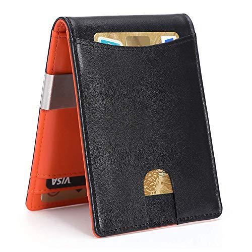 Carteras para Hombre RFID que Bloquean el Dinero Clip de Doble Pliegue Delgado Genuino Billetera de Cuero para Hombres con Ranura para Tarjeta de Crédito en La ventana con ID De...