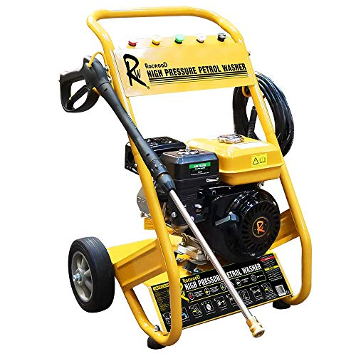 RocwooD Petrol Pressure Washer 3950 PSI 7HP 10 Litre High Power Jet FREE Oil Portable Cordless...