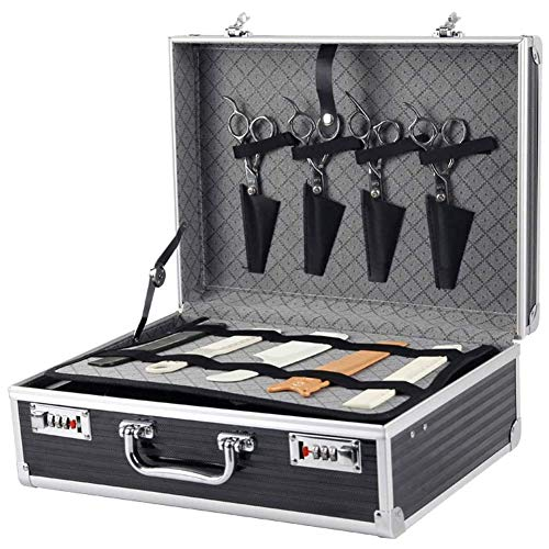 Barber Toolbox Clipper Storage Suitcase Aluminium Luggage Cosmetic Case Beauty Case for Salon/Beauty Studio/Makeup Artist/Nail Technician Peng (Color : Black, Size : 38 * 28 * 15cm)