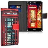 kwmobile Funda Compatible con Huawei P10 Lite - Carcasa de Cuero sintético Cabina Londres - con Tarjetero