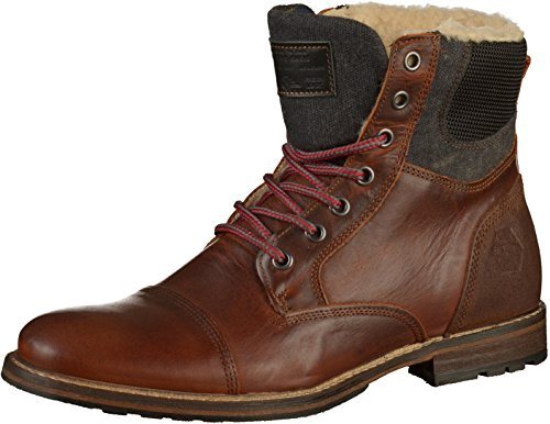 BULLBOXER Herren Winterstiefel 565K86929,Männer Winter-Boots,Fellboots,Fellstiefel,gefüttert,warm,Blockabsatz,Brown,EU 46