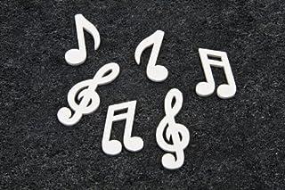 Unbekannt Streudeko Mini Noten & Notenschlüssel in weiss für Musiker & Musikfans - Inhalt 24 Stück pro Verpackungseinheit