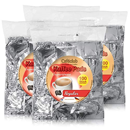 4x Cafeclub Regular Kaffeepads Megabeutel je 100 stk. normale Röstung einzeln verpackt