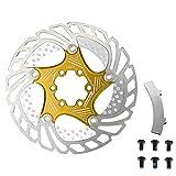 Cheniess 140MM 160MM 180MM 203mm Radfahren Schwimmkühl Rotor MTB Rennrad Kühler mit Brems Alignment Tool Bequem zu Installieren und Einfach zu Bedienen (Color : Gold, Size : 180mm)