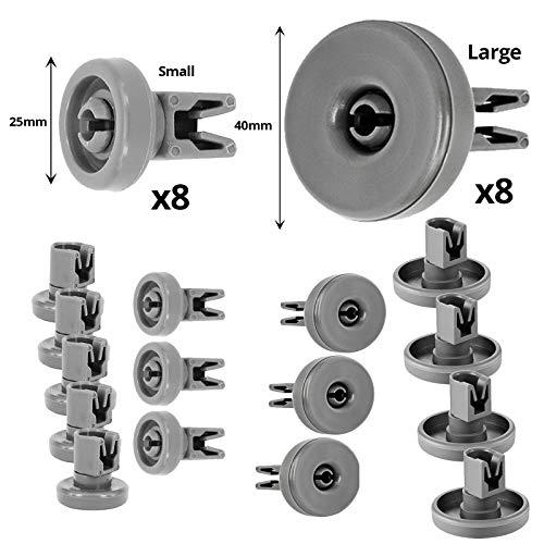 Spares2go Lot de 16 à 8 roulettes pour panier inférieur et supérieur de 25 mm pour lave-vaisselle Russell Hobbs