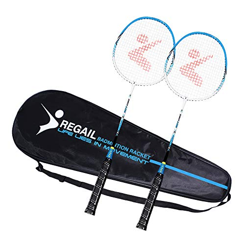 Andoer Conjunto de raquete de badminton para 2 jogadores em alumínio interno raquete de badminton para prática de esportes ao ar livre com bolsa protetora