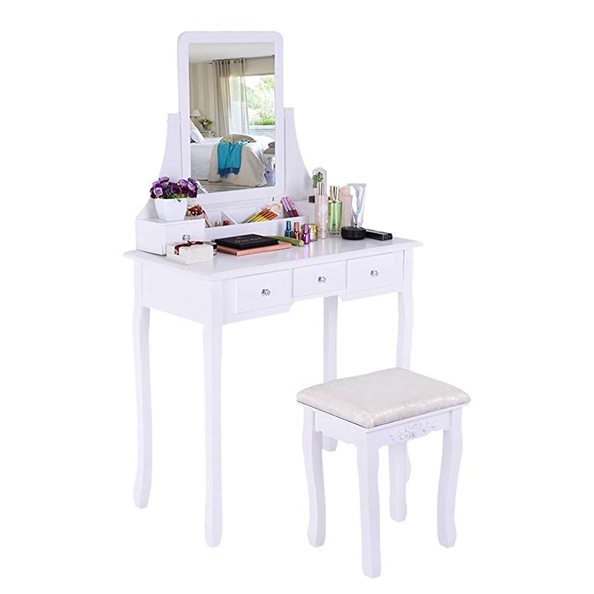 TADAMI Dressing Table, Vanity Set with Mirror & Cushioned Stool Vanity Makeup Table Dividers Movable Organizers