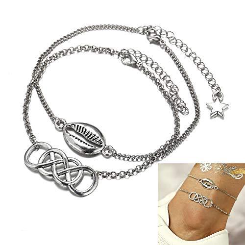 XYWN Anklet Ankle Bracelet Bracelets Set Silver 2 pcs Charm Adjustable Foot Chain, Boho Beach Foot Jewelry for Women Girls