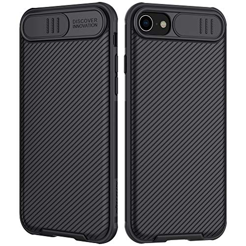 Nillkin iPhone SE 2020 Case/iPhone 8 Case/iPhone 7 Case with Lens Slide Cover, SE 2nd Gen Slim Protective Case Cover Full Body Hard PC+TPU Anti-Scratch Phone Case for Apple iPhone SE 2nd Black