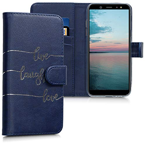 Preisvergleich Produktbild kwmobile Hülle kompatibel mit Samsung Galaxy A6 (2018) - Kunstleder Wallet Case mit Kartenfächern Stand Live Laugh Love Silber Dunkelblau