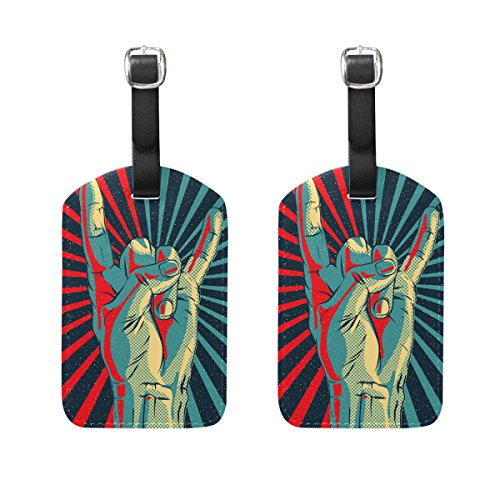 COOSUN Hand In Rock Roll Sign Luggage Tags Travel Labels Tag Name Card Holder for Baggage Suitcase Bag Backpacks, 2 PCS
