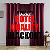 MIUCO 100% Blackout Curtains Room Darkening Drapes for Bedroom Living Room 84 Inches Long Light Blocking Thermal Lined Grommet Window Panels with Valance Tiebacks 5 Pcs Set Hotel Quality Burgundy Red