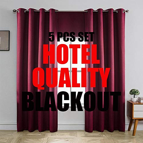 MIUCO 100% Blackout Curtains Room Darkening Drapes for Bedroom Living Room 72 Inches Long Light Blocking Thermal Lined Grommet Window Panels with Valance Tiebacks 5 Pcs Set Hotel Quality Burgundy Red