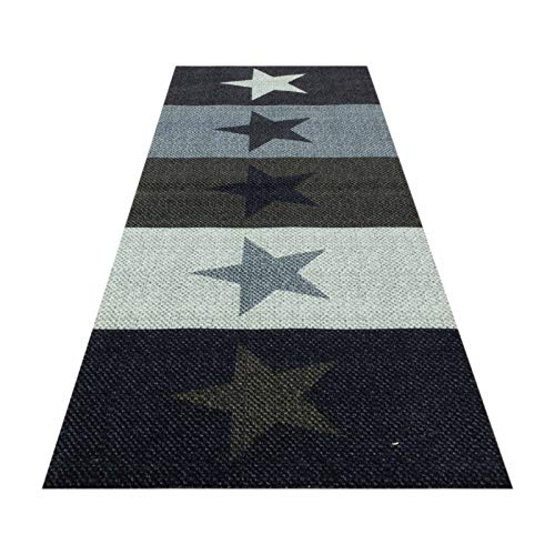 HOMEFACTO:RI Küchenläufer Küchenteppich Teppichläufer Brücke Sterne Stars | waschbar, Größe:ca. 45 x 145 cm, Designs:Sterne | bunt