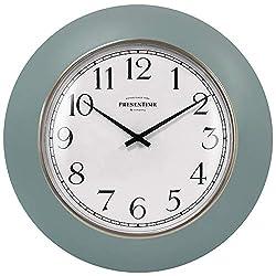 PresenTime & Co 12 Modern Farmhouse Kitchen Wall Clock, Vintage Design, Domed Lens, Morning Gold Ring, Stonewash Blue/ Teal Color