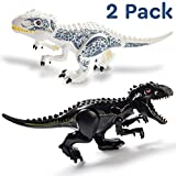 Set of 2 Large T-Rex Jurassic Dinosaur Toys Building Blocks for Boys and Girls - 11.2x6.7 Black & White - Includes Dino Toys Sticker Sheet & Reusable Bag - Safe ABS Plastic Jurassic Trex Gift Combo!